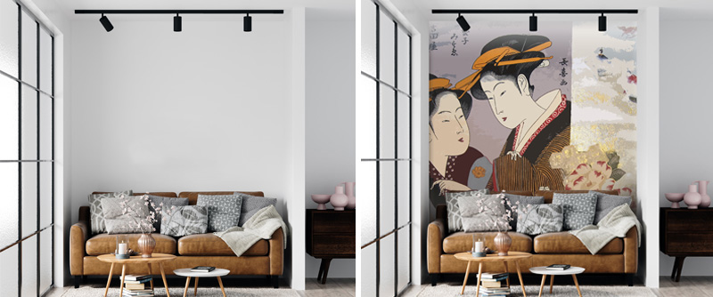Japanese Kimono fabric design made into a collage and then an art wallpaper for walls sold online by The Mural Shop