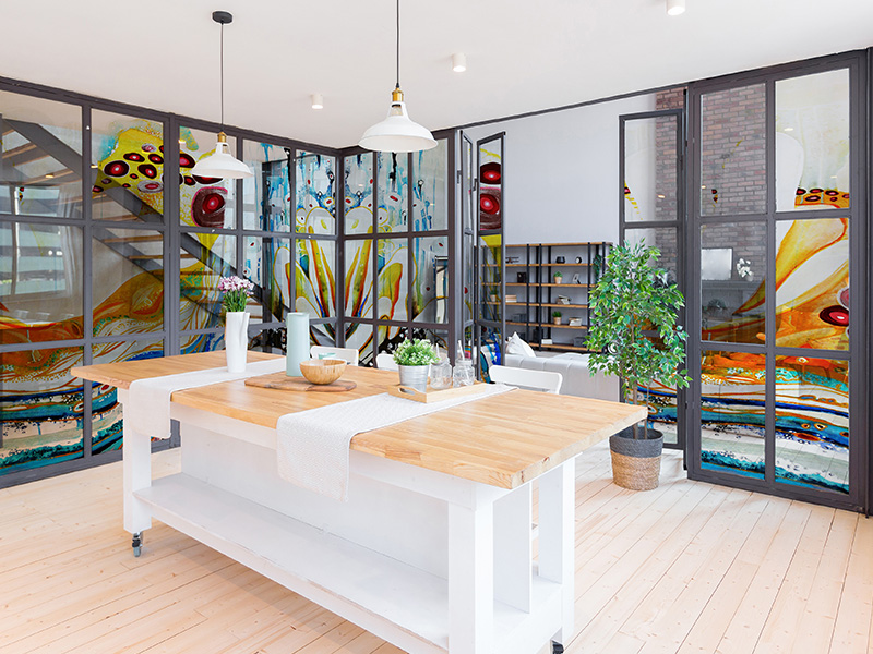 unique-kitchen-glass-dividing-wall-mural-by-Sharron-Tancred-The-Mural-Shop